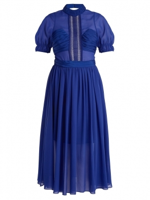 Dark blue chiffon dress